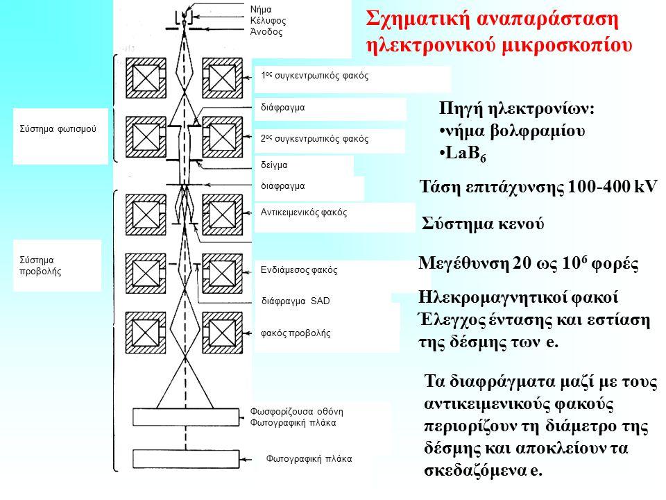 Σχηματική αναπαράσταση ηλεκτρονικού μικροσκοπίου Νήμα Κέλυφος Άνοδος 1 ος συγκεντρωτικός φακός διάφραγμα 2 ος συγκεντρωτικός φακός διάφραγμα δείγμα Αντικειμενικός φακός διάφραγμα Ενδιάμεσος φακός διάφραγμα SAD φακός προβολής Σύστημα φωτισμού Σύστημα προβολής Φωσφορίζουσα οθόνη Φωτογραφική πλάκα Πηγή ηλεκτρονίων: νήμα βολφραμίου LaB 6 Τάση επιτάχυνσης 100-400 kV Μεγέθυνση 20 ως 10 6 φορές Σύστημα κενού Ηλεκρομαγνητικοί φακοί Έλεγχος έντασης και εστίαση της δέσμης των e.