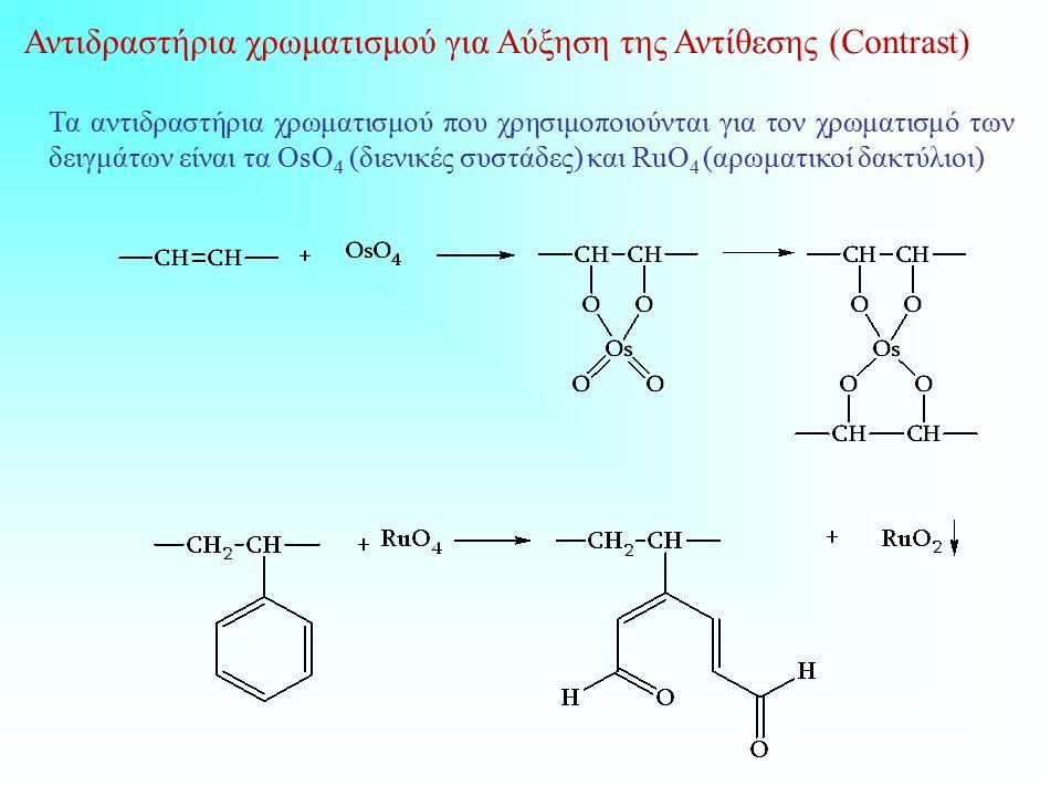 Τα αντιδραστήρια χρωματισμού που χρησιμοποιούνται για τον χρωματισμό των δειγμάτων είναι τα OsO 4 (διενικές συστάδες) και RuO 4 (αρωματικοί δακτύλιοι) Αντιδραστήρια χρωματισμού για Αύξηση της Αντίθεσης (Contrast)