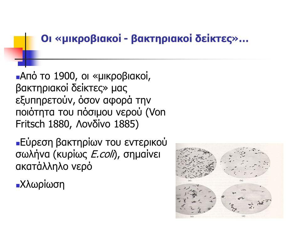 Οι «μικροβιακοί - βακτηριακοί δείκτες»… Από το 1900, οι «μικροβιακοί, βακτηριακοί δείκτες» μας εξυπηρετούν, όσον αφορά την ποιότητα του πόσιμου νερού (Von Fritsch 1880, Λονδίνο 1885) Εύρεση βακτηρίων του εντερικού σωλήνα (κυρίως E.coli), σημαίνει ακατάλληλο νερό Χλωρίωση