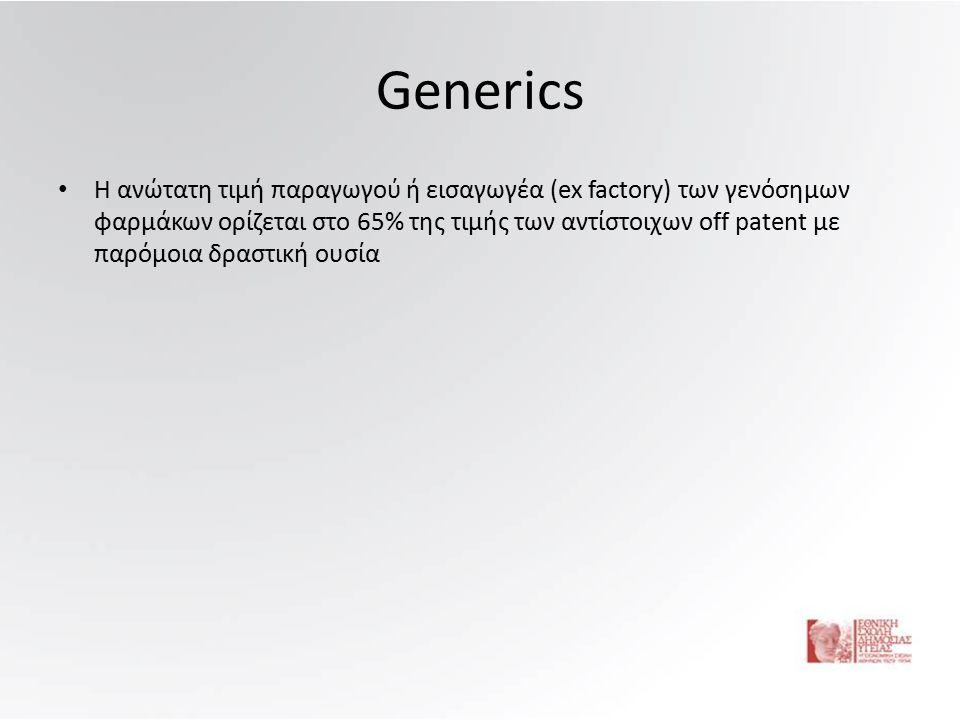 Generics Η ανώτατη τιμή παραγωγού ή εισαγωγέα (ex factory) των γενόσημων φαρμάκων ορίζεται στο 65% της τιμής των αντίστοιχων off patent με παρόμοια δραστική ουσία