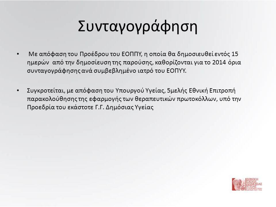 Συνταγογράφηση Με απόφαση του Προέδρου του ΕΟΠΠΥ, η οποία θα δημοσιευθεί εντός 15 ημερών από την δημοσίευση της παρούσης, καθορίζονται για το 2014 όρια συνταγογράφησης ανά συμβεβλημένο ιατρό του ΕΟΠΥΥ.