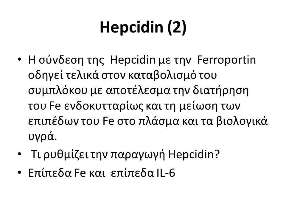 Hepcidin (2) H σύνδεση της Hepcidin με την Ferroportin οδηγεί τελικά στον καταβολισμό του συμπλόκου με αποτέλεσμα την διατήρηση του Fe ενδοκυτταρίως και τη μείωση των επιπέδων του Fe στο πλάσμα και τα βιολογικά υγρά.