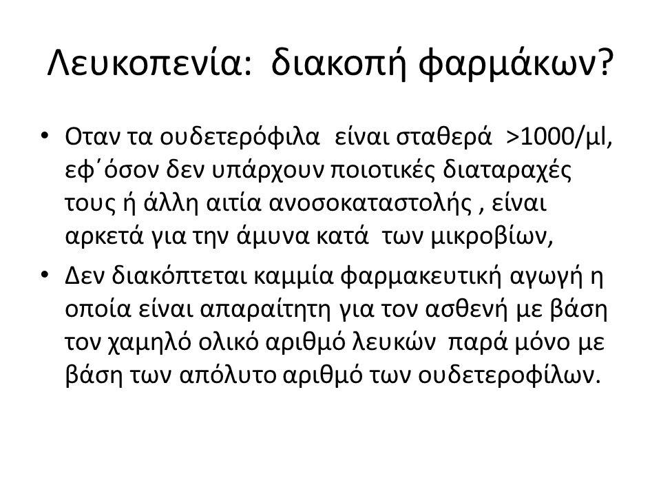 Λευκοπενία: διακοπή φαρμάκων.