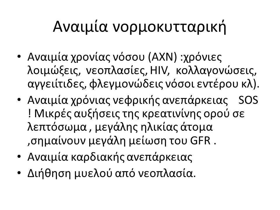 Αναιμία νορμοκυτταρική Αναιμία χρονίας νόσου (ΑΧΝ) :χρόνιες λοιμώξεις, νεοπλασίες, HIV, κολλαγονώσεις, αγγειίτιδες, φλεγμονώδεις νόσοι εντέρου κλ).