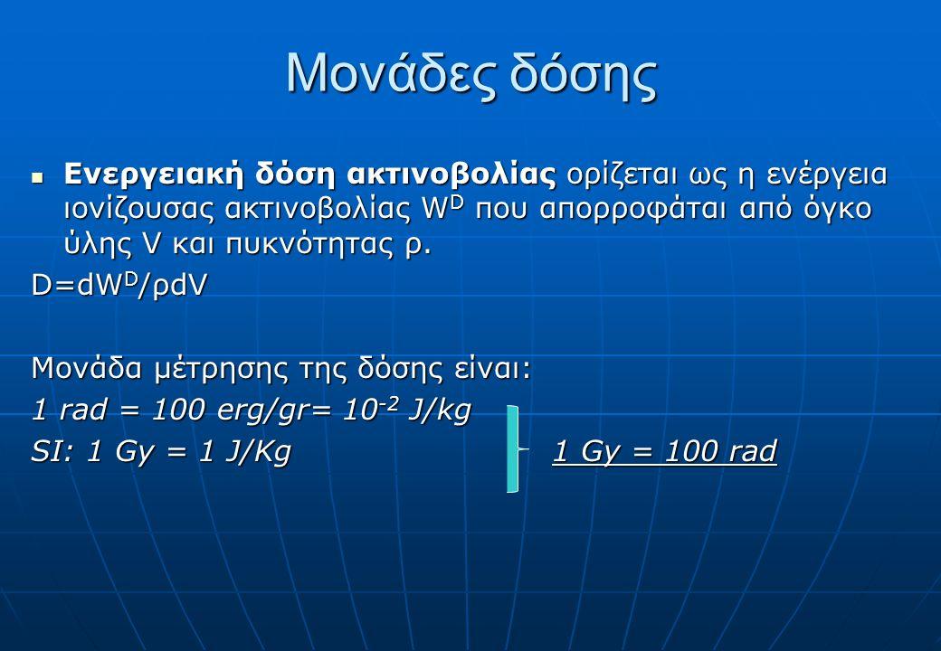 Μονάδες δόσης Ενεργειακή δόση ακτινοβολίας ορίζεται ως η ενέργεια ιονίζουσας ακτινοβολίας W D που απορροφάται από όγκο ύλης V και πυκνότητας ρ.