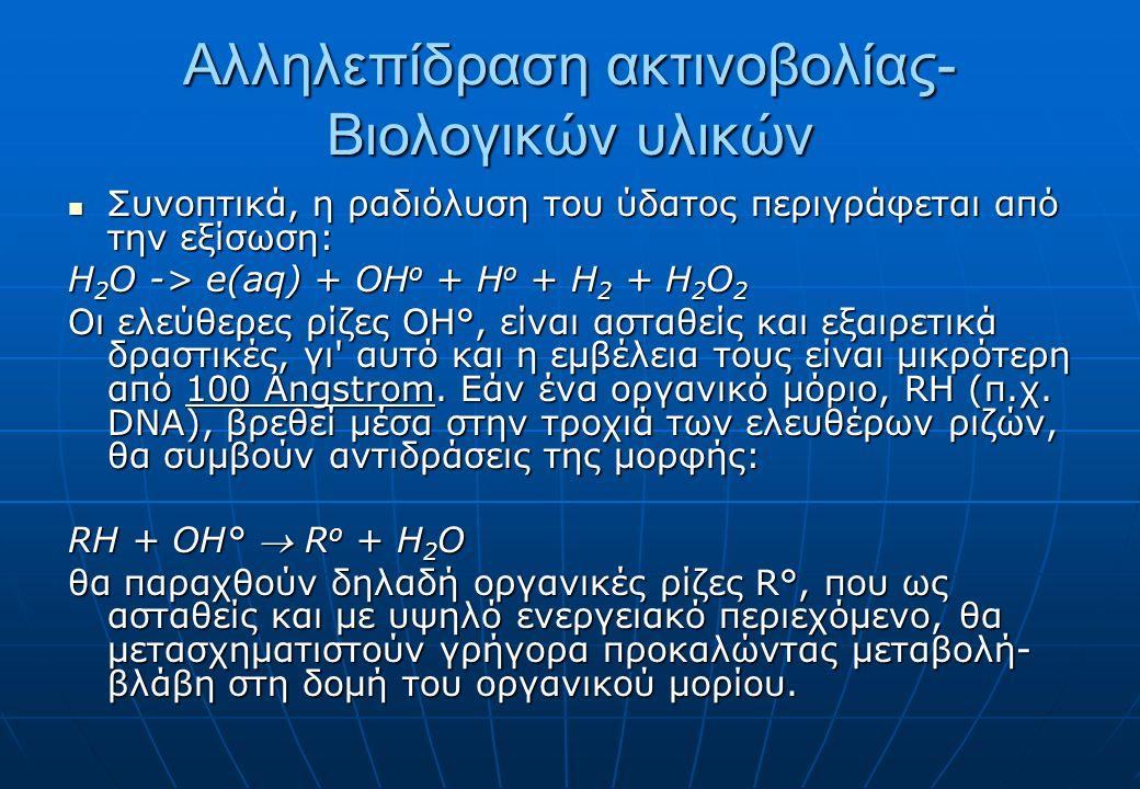 Αλληλεπίδραση ακτινοβολίας- Βιολογικών υλικών Συνοπτικά, η ραδιόλυση του ύδατος περιγράφεται από την εξίσωση: Συνοπτικά, η ραδιόλυση του ύδατος περιγράφεται από την εξίσωση: Η 2 Ο -> e(aq) + OH ο + Η ο + Η 2 + Η 2 Ο 2 Οι ελεύθερες ρίζες ΟΗ°, είναι ασταθείς και εξαιρετικά δραστικές, γι αυτό και η εμβέλεια τους είναι μικρότερη από 100 Angstrom.