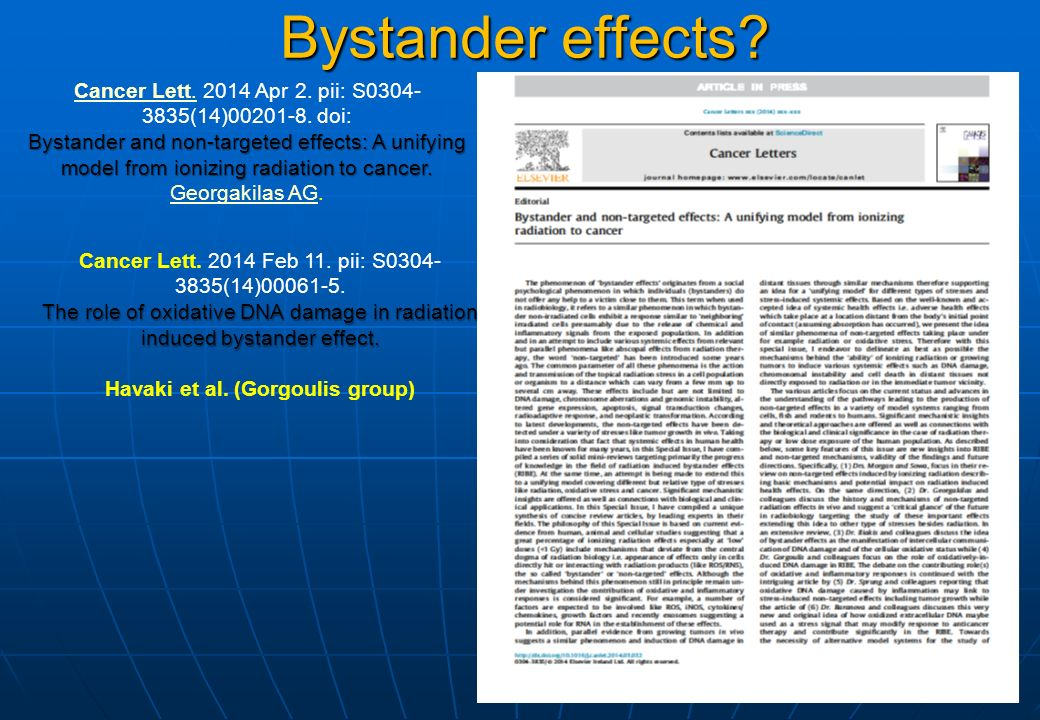 Bystander effects. Cancer Lett.Cancer Lett. 2014 Apr 2.