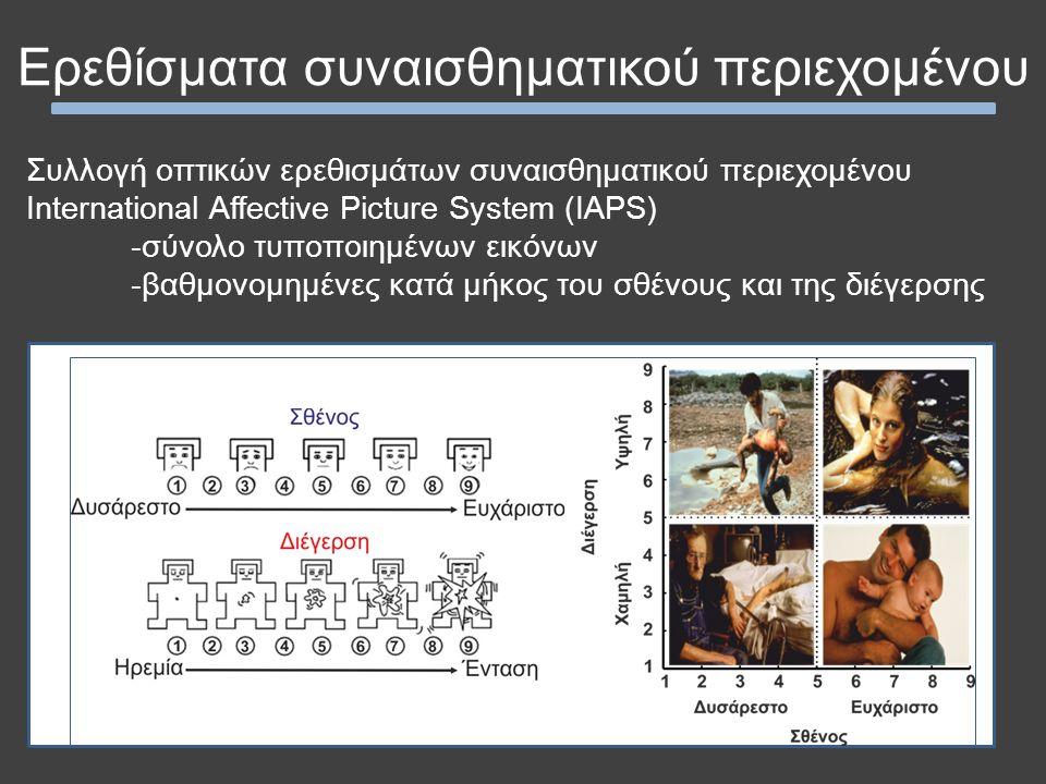 Ερεθίσματα συναισθηματικού περιεχομένου Συλλογή οπτικών ερεθισμάτων συναισθηματικού περιεχομένου International Affective Picture System (IAPS) -σύνολο τυποποιημένων εικόνων -βαθμονομημένες κατά μήκος του σθένους και της διέγερσης