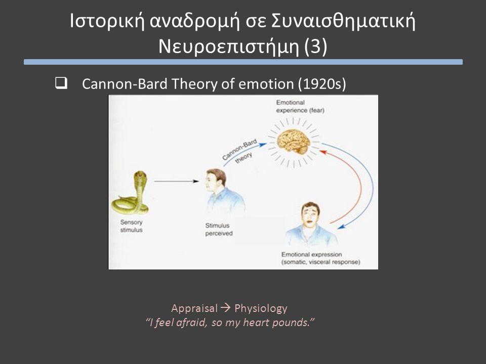  Cannon-Bard Theory of emotion (1920s) Ιστορική αναδρομή σε Συναισθηματική Νευροεπιστήμη (3) Appraisal  Physiology I feel afraid, so my heart pounds.