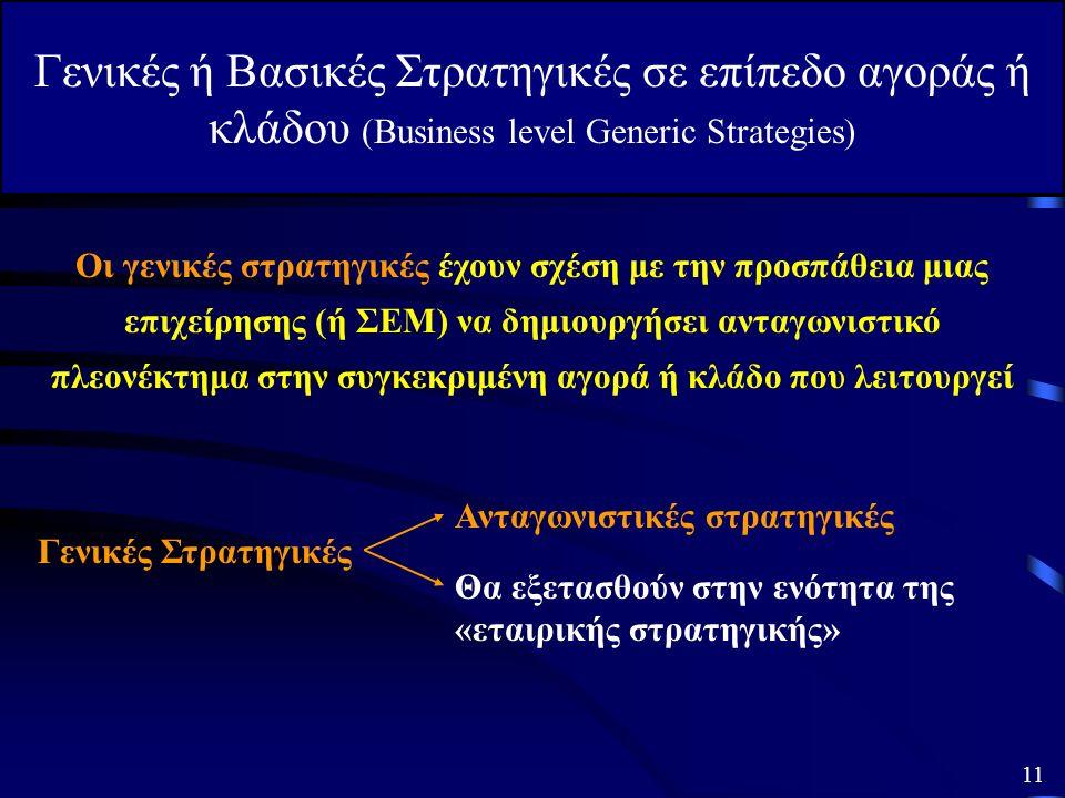 Γενικές ή Βασικές Στρατηγικές σε επίπεδο αγοράς ή κλάδου (Business level Generic Strategies) Οι γενικές στρατηγικές έχουν σχέση με την προσπάθεια μιας