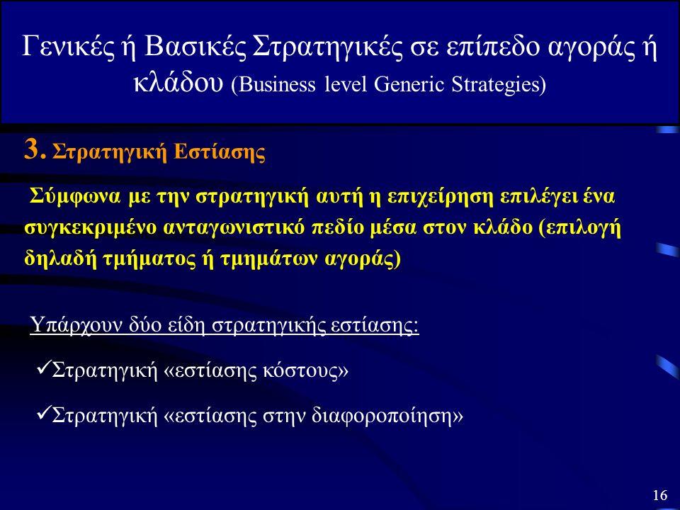 Γενικές ή Βασικές Στρατηγικές σε επίπεδο αγοράς ή κλάδου (Business level Generic Strategies) 2. Γενική Στρατηγική Διαφοροποίησης Επειδή μόνο μια επιχε