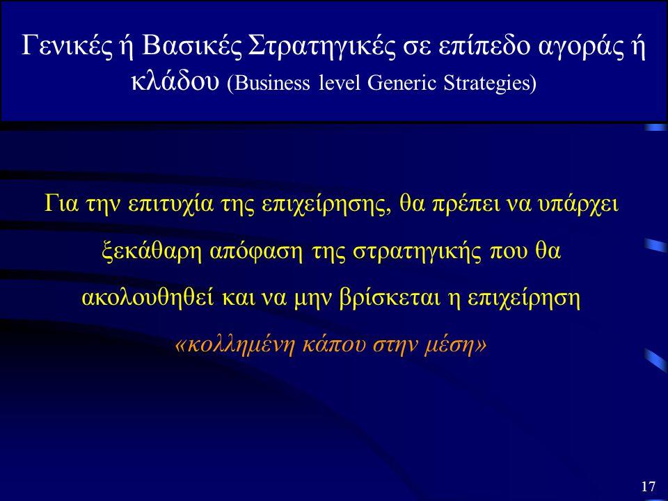 Γενικές ή Βασικές Στρατηγικές σε επίπεδο αγοράς ή κλάδου (Business level Generic Strategies) 3. Στρατηγική Εστίασης Σύμφωνα με την στρατηγική αυτή η ε