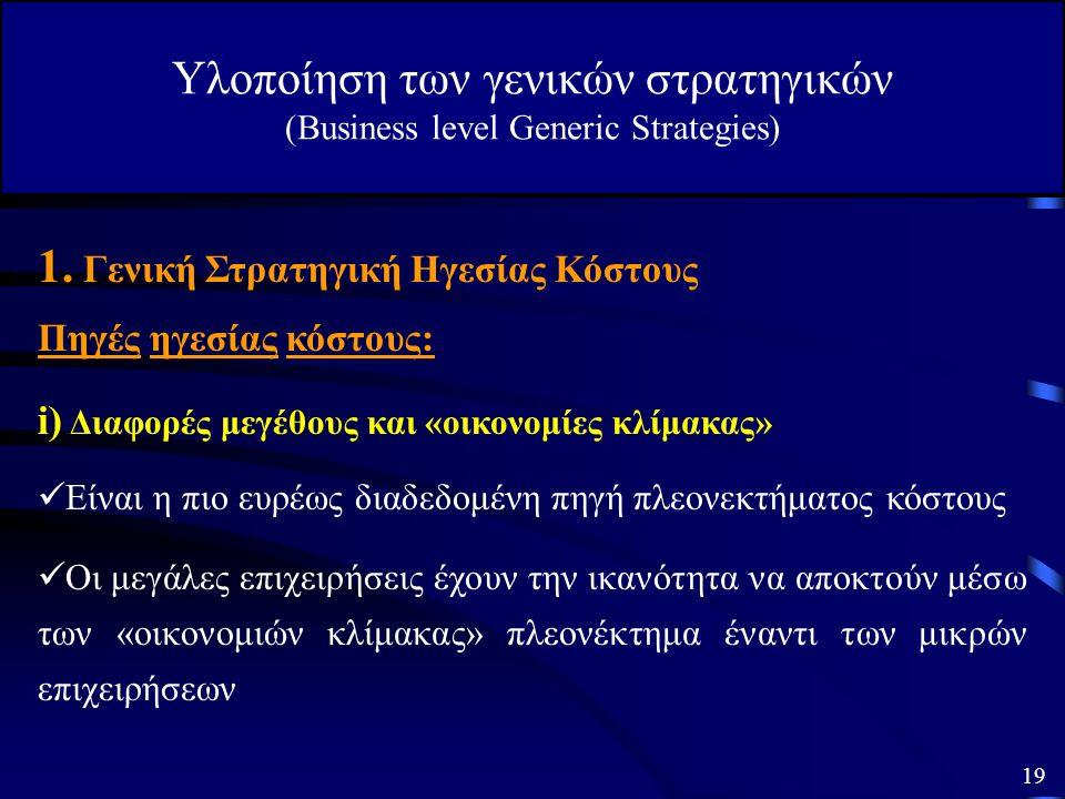 Υλοποίηση των γενικών στρατηγικών (Business level Generic Strategies) Η τιμή των προϊόντων δεν θα πρέπει να είναι χαμηλότερη από τον ανταγωνισμό (σκοπ
