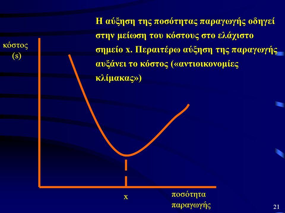 i) Διαφορές μεγέθους και «οικονομίες κλίμακας» Για να επιτυγχάνεται πλεονέκτημα κόστους, πρέπει η επιχείρηση να έχει αγγίξει και να παραμένει στο κατώ