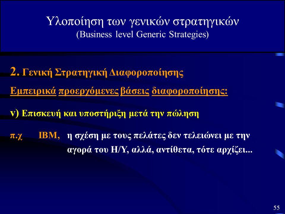 2. Γενική Στρατηγική Διαφοροποίησης Υλοποίηση των γενικών στρατηγικών (Business level Generic Strategies) Εμπειρικά προερχόμενες βάσεις διαφοροποίησης