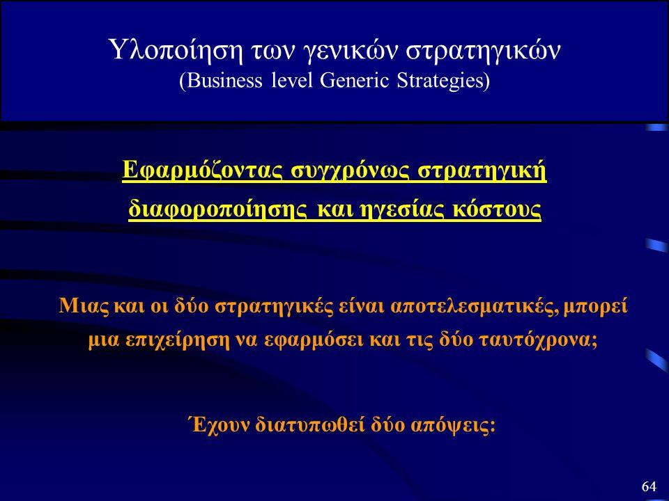 2. Γενική Στρατηγική Διαφοροποίησης Υλοποίηση των γενικών στρατηγικών (Business level Generic Strategies) Η Οργάνωση της επιχείρησης για την επίτευξη