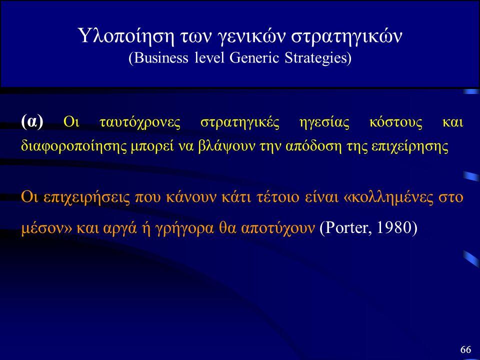 Υλοποίηση των γενικών στρατηγικών (Business level Generic Strategies) (α) Οι ταυτόχρονες στρατηγικές ηγεσίας κόστους και διαφοροποίησης μπορεί να βλάψ