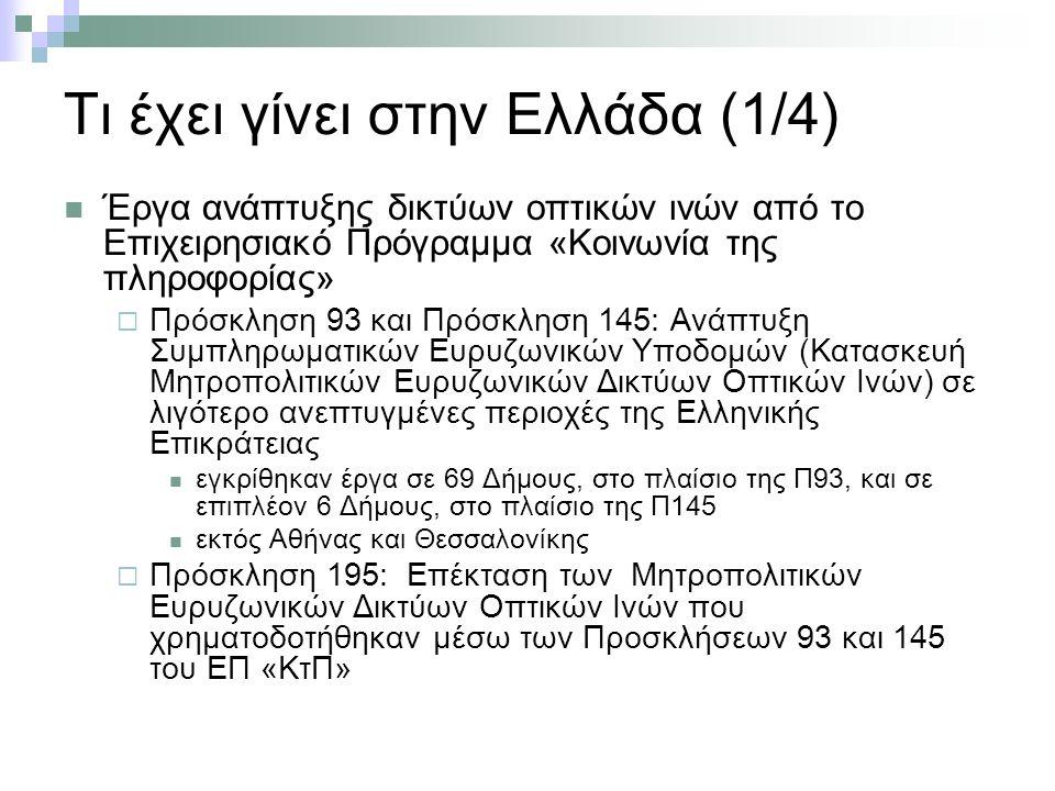 Τι έχει γίνει στην Ελλάδα (1/4) Έργα ανάπτυξης δικτύων οπτικών ινών από το Επιχειρησιακό Πρόγραμμα «Κοινωνία της πληροφορίας»  Πρόσκληση 93 και Πρόσκληση 145: Ανάπτυξη Συμπληρωματικών Ευρυζωνικών Υποδομών (Κατασκευή Μητροπολιτικών Ευρυζωνικών Δικτύων Οπτικών Ινών) σε λιγότερο ανεπτυγμένες περιοχές της Ελληνικής Επικράτειας εγκρίθηκαν έργα σε 69 Δήμους, στο πλαίσιο της Π93, και σε επιπλέον 6 Δήμους, στο πλαίσιο της Π145 εκτός Αθήνας και Θεσσαλονίκης  Πρόσκληση 195: Επέκταση των Μητροπολιτικών Ευρυζωνικών Δικτύων Οπτικών Ινών που χρηματοδοτήθηκαν μέσω των Προσκλήσεων 93 και 145 του ΕΠ «ΚτΠ»