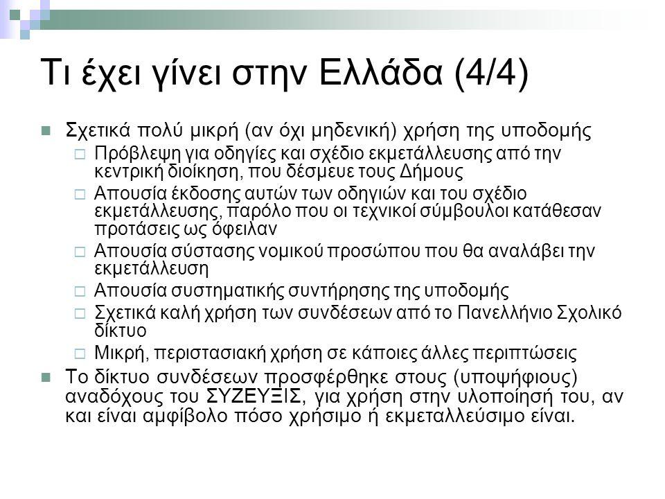 Τι έχει γίνει στην Ελλάδα (4/4) Σχετικά πολύ μικρή (αν όχι μηδενική) χρήση της υποδομής  Πρόβλεψη για οδηγίες και σχέδιο εκμετάλλευσης από την κεντρική διοίκηση, που δέσμευε τους Δήμους  Απουσία έκδοσης αυτών των οδηγιών και του σχέδιο εκμετάλλευσης, παρόλο που οι τεχνικοί σύμβουλοι κατάθεσαν προτάσεις ως όφειλαν  Απουσία σύστασης νομικού προσώπου που θα αναλάβει την εκμετάλλευση  Απουσία συστηματικής συντήρησης της υποδομής  Σχετικά καλή χρήση των συνδέσεων από το Πανελλήνιο Σχολικό δίκτυο  Μικρή, περιστασιακή χρήση σε κάποιες άλλες περιπτώσεις Το δίκτυο συνδέσεων προσφέρθηκε στους (υποψήφιους) αναδόχους του ΣΥΖΕΥΞΙΣ, για χρήση στην υλοποίησή του, αν και είναι αμφίβολο πόσο χρήσιμο ή εκμεταλλεύσιμο είναι.