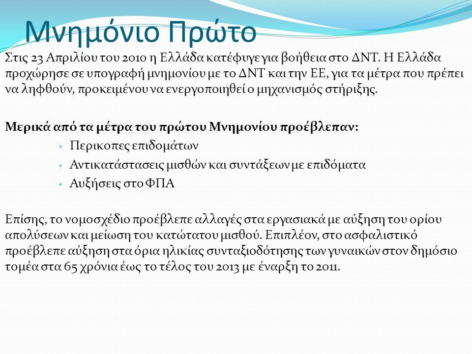 Μνημόνιο Πρώτο Στις 23 Απριλίου του 2010 η Ελλάδα κατέφυγε για βοήθεια στο ΔΝΤ. Η Ελλάδα προχώρησε σε υπογραφή μνημονίου με το ΔΝΤ και την ΕΕ, για τα