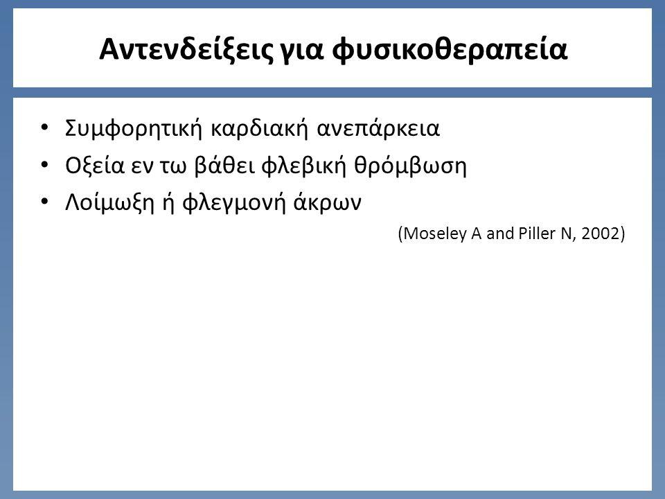 Αντενδείξεις για φυσικοθεραπεία Συμφορητική καρδιακή ανεπάρκεια Οξεία εν τω βάθει φλεβική θρόμβωση Λοίμωξη ή φλεγμονή άκρων (Moseley A and Piller N, 2002)