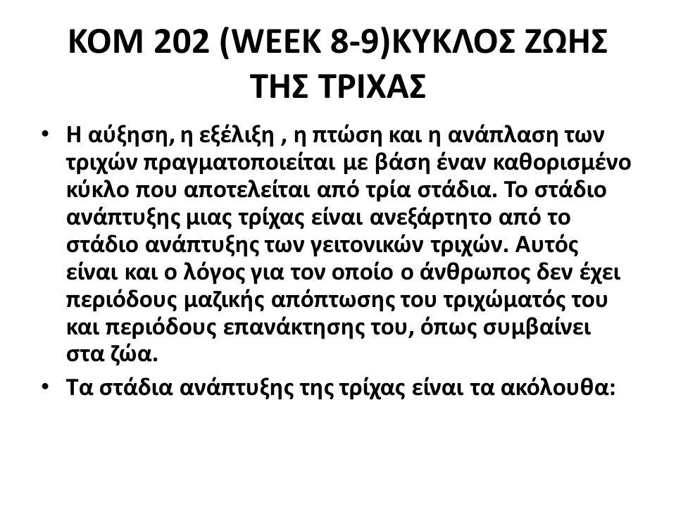 ΚΟΜ 202 (WEEK 8-9)ΚΥΚΛΟΣ ΖΩΗΣ ΤΗΣ ΤΡΙΧΑΣ Η αύξηση, η εξέλιξη, η πτώση και η ανάπλαση των τριχών πραγματοποιείται με βάση έναν καθορισμένο κύκλο που αποτελείται από τρία στάδια.