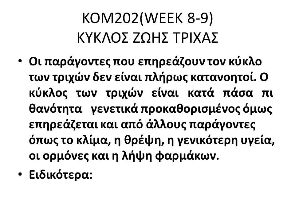 ΚΟΜ202(WEEK 8-9) ΚΥΚΛΟΣ ΖΩΗΣ ΤΡΙΧΑΣ Οι παράγοντες που επηρεάζουν τον κύκλο των τριχών δεν είναι πλήρως κατανοητοί.