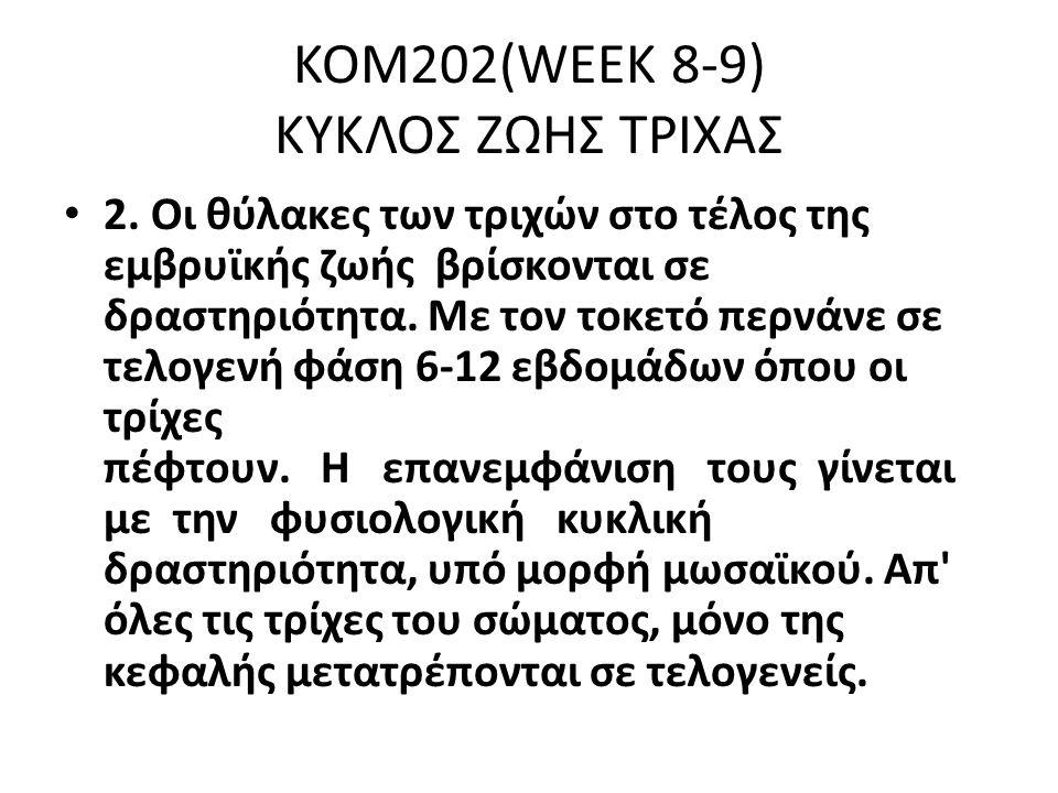ΚΟΜ202(WEEK 8-9) ΚΥΚΛΟΣ ΖΩΗΣ ΤΡΙΧΑΣ 2.