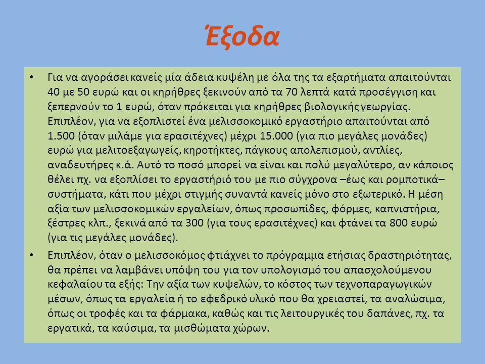 Έξοδα Για να αγοράσει κανείς μία άδεια κυψέλη με όλα της τα εξαρτήματα απαιτούνται 40 με 50 ευρώ και οι κηρήθρες ξεκινούν από τα 70 λεπτά κατά προσέγγ