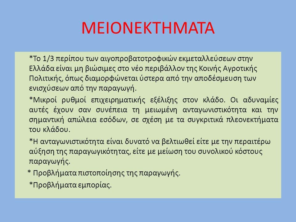 ΜΕΙΟΝΕΚΤΗΜΑΤΑ *Το 1/3 περίπου των αιγοπροβατοτροφικών εκμεταλλεύσεων στην Ελλάδα είναι μη βιώσιμες στο νέο περιβάλλον της Κοινής Αγροτικής Πολιτικής,