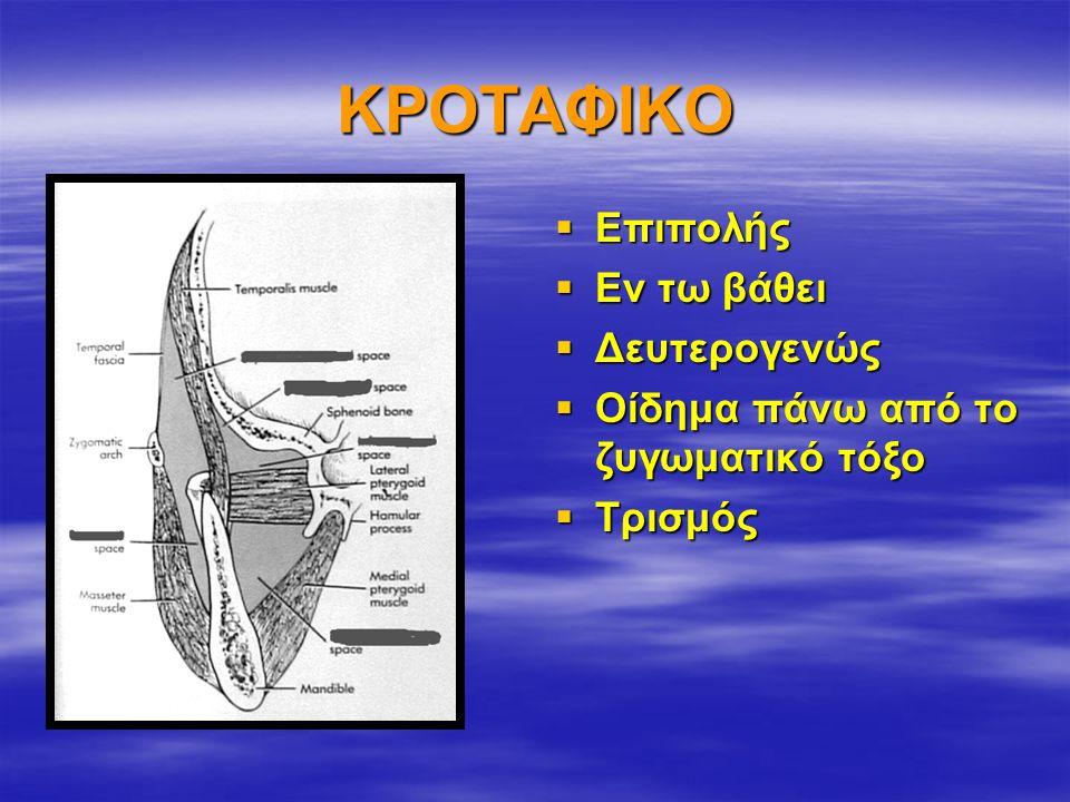 ΚΡΟΤΑΦΙΚΟ  Επιπολής  Εν τω βάθει  Δευτερογενώς  Οίδημα πάνω από το ζυγωματικό τόξο  Τρισμός
