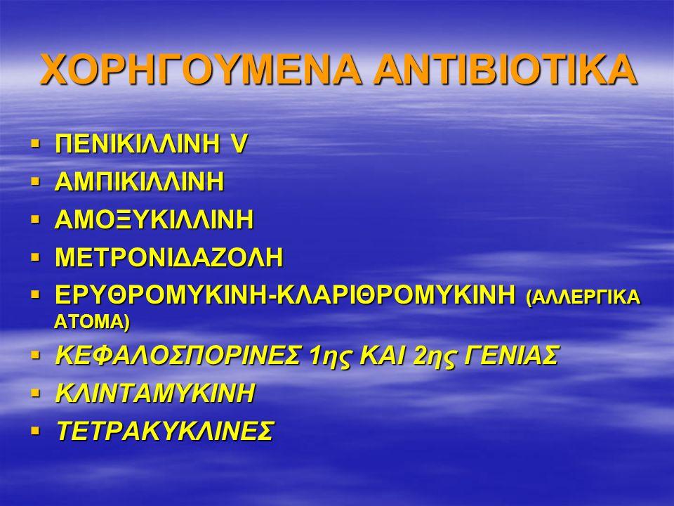 ΧΟΡΗΓΟΥΜΕΝΑ ΑΝΤΙΒΙΟΤΙΚΑ  ΠΕΝΙΚΙΛΛΙΝΗ V  ΑΜΠΙΚΙΛΛΙΝΗ  ΑΜΟΞΥΚΙΛΛΙΝΗ  ΜΕΤΡΟΝΙΔΑΖΟΛΗ  ΕΡΥΘΡΟΜΥΚΙΝΗ-ΚΛΑΡΙΘΡΟΜΥΚΙΝΗ (ΑΛΛΕΡΓΙΚΑ ΑΤΟΜΑ)  ΚΕΦΑΛΟΣΠΟΡΙΝΕΣ 1ης ΚΑΙ 2ης ΓΕΝΙΑΣ  ΚΛΙΝΤΑΜΥΚΙΝΗ  ΤΕΤΡΑΚΥΚΛΙΝΕΣ