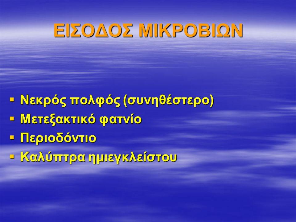 ΕΙΣΟΔΟΣ ΜΙΚΡΟΒΙΩΝ  Νεκρός πολφός (συνηθέστερο)  Μετεξακτικό φατνίο  Περιοδόντιο  Καλύπτρα ημιεγκλείστου