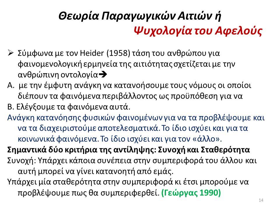 Θεωρία Παραγωγικών Αιτιών ή Ψυχολογία του Αφελούς  Σύμφωνα με τον Heider (1958) τάση του ανθρώπου για φαινομενολογική ερμηνεία της αιτιότητας σχετίζε