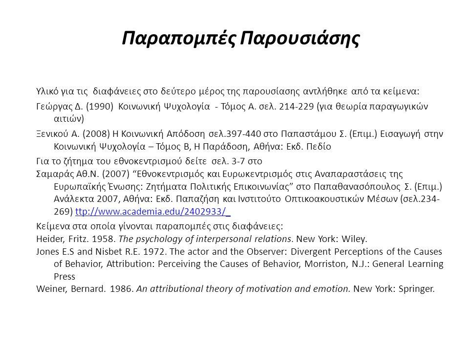 Παραπομπές Παρουσιάσης Υλικό για τις διαφάνειες στο δεύτερο μέρος της παρουσίασης αντλήθηκε από τα κείμενα: Γεώργας Δ. (1990) Κοινωνική Ψυχολογία - Τό