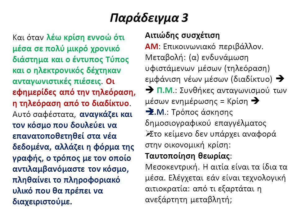 Παράδειγμα 3 – Ας ξαναδούμε με την πρηγούμενη πρόταση Νομίζω ότι προϋπήρχε της κρίσης της οικονομικής, χρειαζόταν ένας επαναπροσανατολισμός στα ελληνικά Μέσα και ήρθε η οικονομική κρίση και την ανέδειξε και τη βάθυνε.