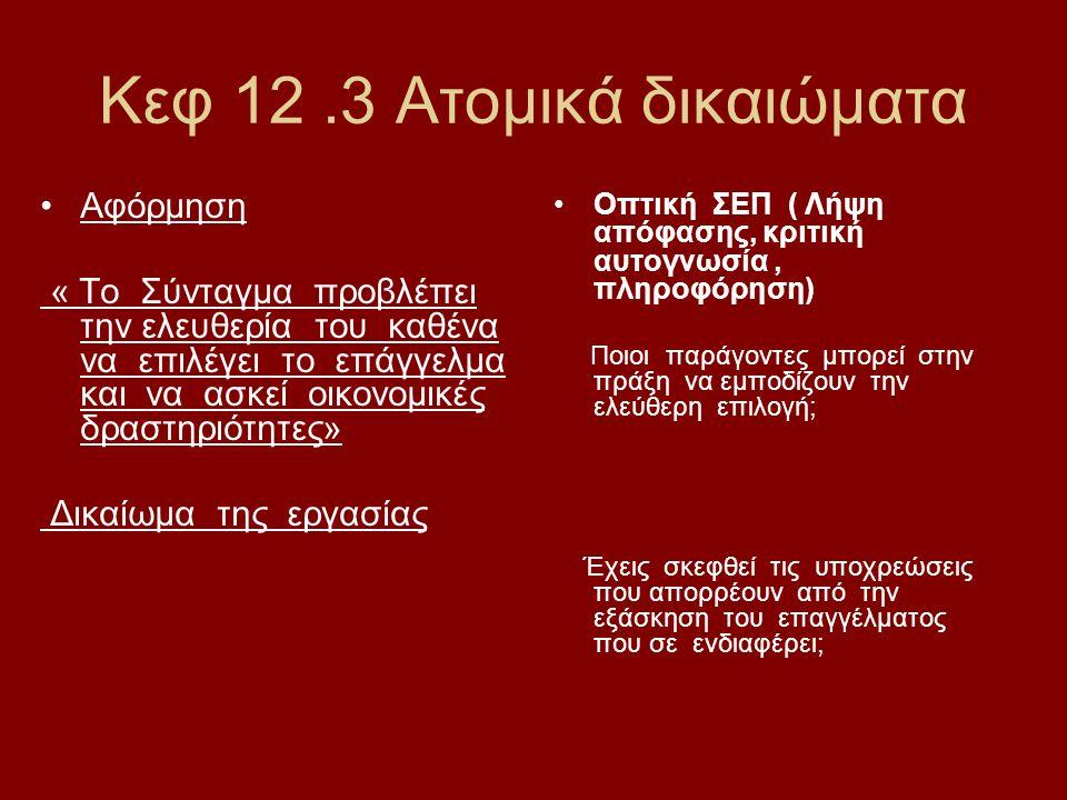Κεφ 12.3 Ατομικά δικαιώματα Αφόρμηση « Το Σύνταγμα προβλέπει την ελευθερία του καθένα να επιλέγει το επάγγελμα και να ασκεί οικονομικές δραστηριότητες» Δικαίωμα της εργασίας Οπτική ΣΕΠ ( Λήψη απόφασης, κριτική αυτογνωσία, πληροφόρηση) Ποιοι παράγοντες μπορεί στην πράξη να εμποδίζουν την ελεύθερη επιλογή; Έχεις σκεφθεί τις υποχρεώσεις που απορρέουν από την εξάσκηση του επαγγέλματος που σε ενδιαφέρει;