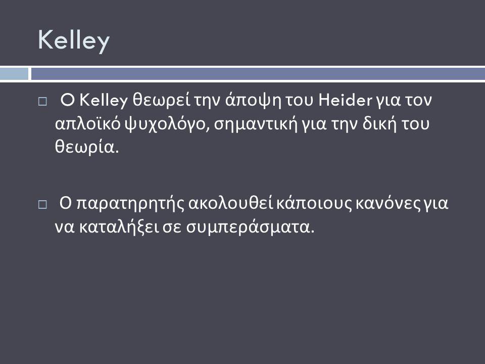 Kelley  O Kelley θεωρεί την άποψη του Heider για τον απλοϊκό ψυχολόγο, σημαντική για την δική του θεωρία.
