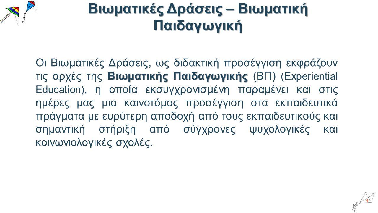 Τα κριτήρια της ατομικής αξιολόγησης σχετίζονται άμεσα με τα αναμενόμενα αποτελέσματα της Βιωματικής Δράσης και διακρίνονται: Α.