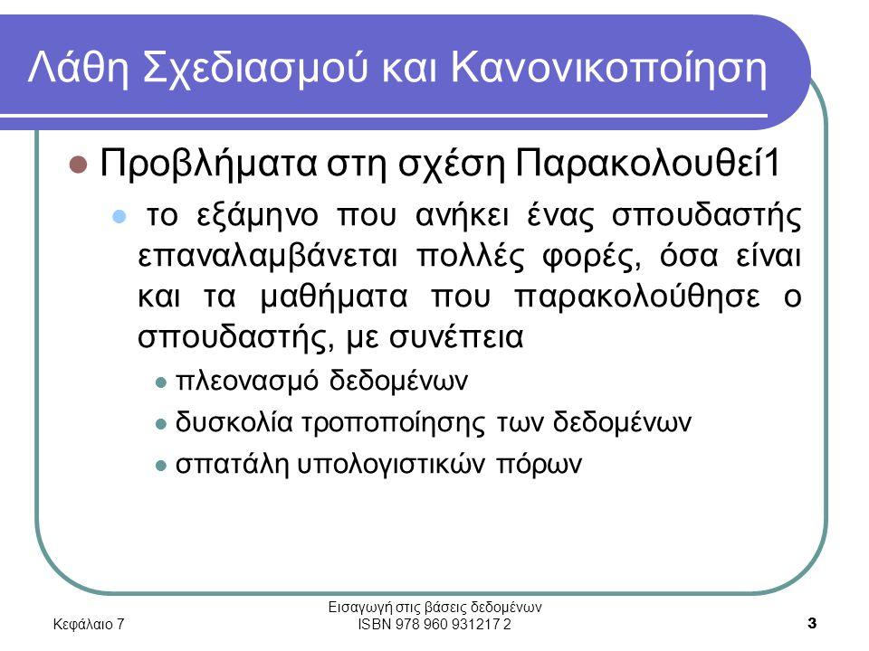 Κεφάλαιο 7 Εισαγωγή στις βάσεις δεδομένων ISBN 978 960 931217 2 34 Τρίτη Κανονική Μορφή (3NF) Διάγραμμα συναρτησιακών εξαρτήσεων για τις σχέσεις Σπουδασ και Εξάμηνο_ΣΔΜ