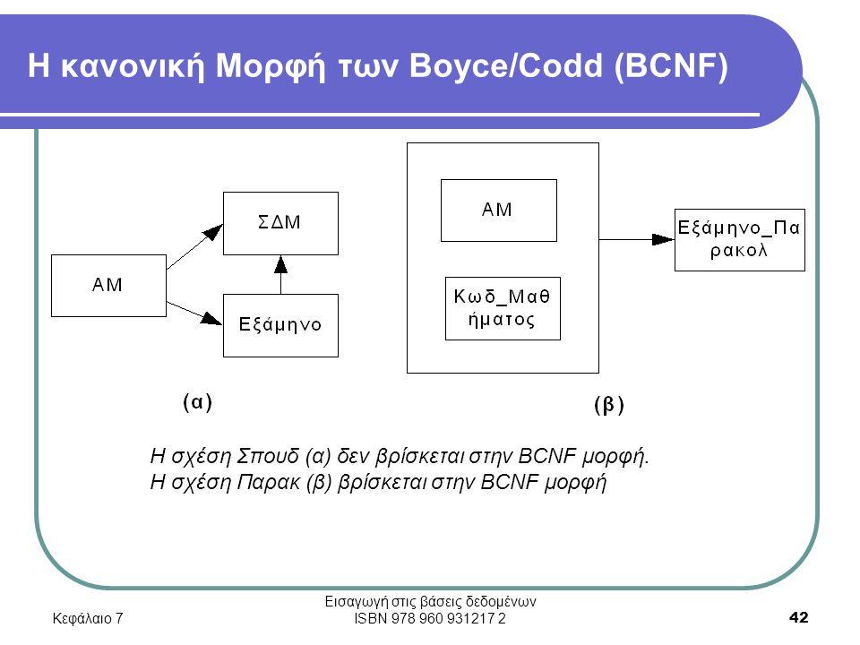 Κεφάλαιο 7 Εισαγωγή στις βάσεις δεδομένων ISBN 978 960 931217 2 42 Η κανονική Μορφή των Boyce/Codd (BCNF) Η σχέση Σπουδ (α) δεν βρίσκεται στην BCNF μορφή.