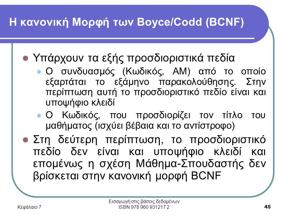 Κεφάλαιο 7 Εισαγωγή στις βάσεις δεδομένων ISBN 978 960 931217 2 45 Η κανονική Μορφή των Boyce/Codd (BCNF) Υπάρχουν τα εξής προσδιοριστικά πεδία Ο συνδυασμός (Κωδικός, ΑΜ) από το οποίο εξαρτάται το εξάμηνο παρακολούθησης.