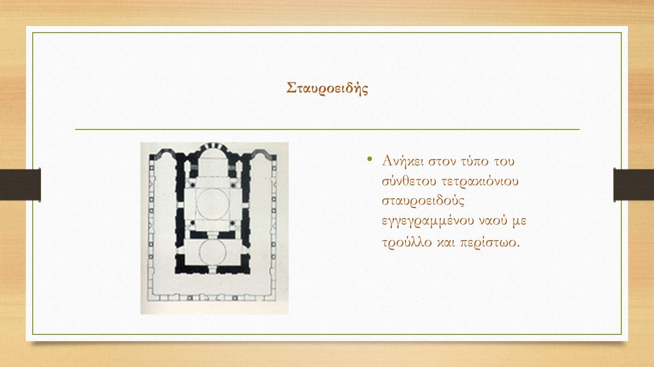 Σταυροειδής Ανήκει στον τύπο του σύνθετου τετρακιόνιου σταυροειδούς εγγεγραμμένου ναού με τρούλλο και περίστωο.