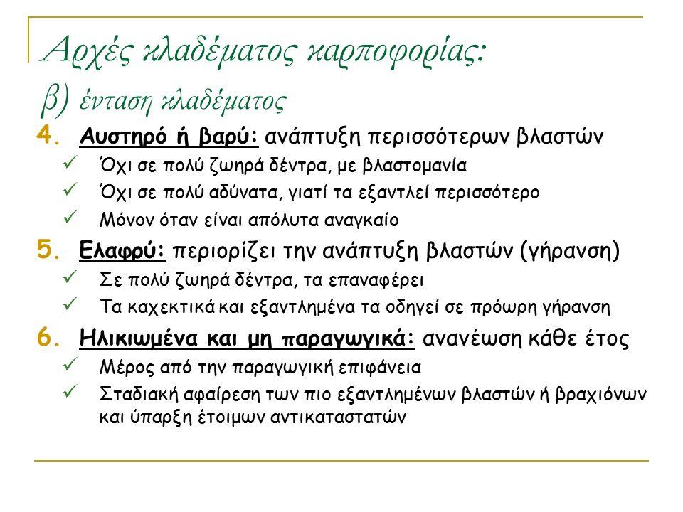 Αρχές κλαδέματος καρποφορίας: β) ένταση κλαδέματος 4. Αυστηρό ή βαρύ: ανάπτυξη περισσότερων βλαστών Όχι σε πολύ ζωηρά δέντρα, με βλαστομανία Όχι σε πο
