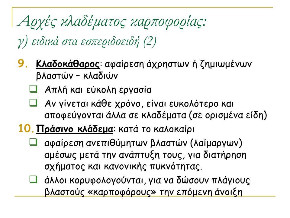 Αρχές κλαδέματος καρποφορίας: γ) ειδικά στα εσπεριδοειδή (2) 9. Κλαδοκάθαρος: αφαίρεση άχρηστων ή ζημιωμένων βλαστών – κλαδιών  Απλή και εύκολη εργασ