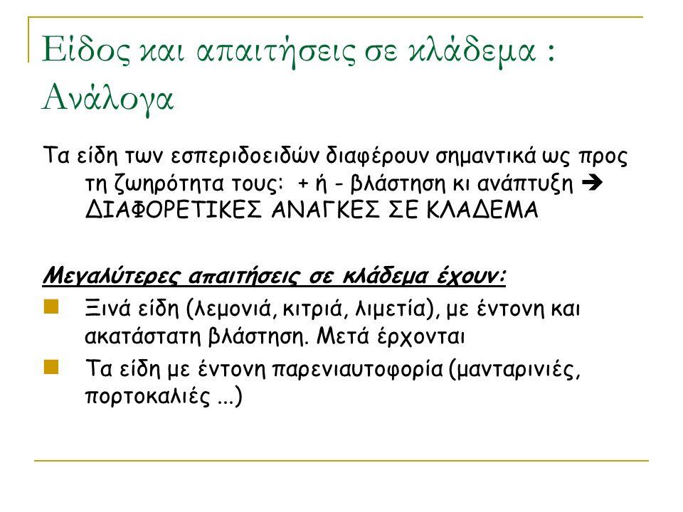 Είδος και απαιτήσεις σε κλάδεμα : Ανάλογα Τα είδη των εσπεριδοειδών διαφέρουν σημαντικά ως προς τη ζωηρότητα τους: + ή - βλάστηση κι ανάπτυξη  ΔΙΑΦΟΡΕΤΙΚΕΣ ΑΝΑΓΚΕΣ ΣΕ ΚΛΑΔΕΜΑ Μεγαλύτερες απαιτήσεις σε κλάδεμα έχουν: Ξινά είδη (λεμονιά, κιτριά, λιμετία), με έντονη και ακατάστατη βλάστηση.