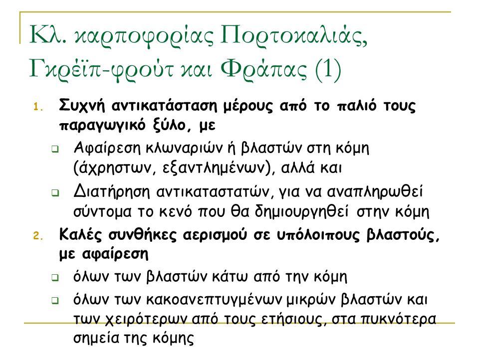 Κλ. καρποφορίας Πορτοκαλιάς, Γκρέϊπ-φρούτ και Φράπας (1) 1. Συχνή αντικατάσταση μέρους από το παλιό τους παραγωγικό ξύλο, με  Αφαίρεση κλωναριών ή βλ