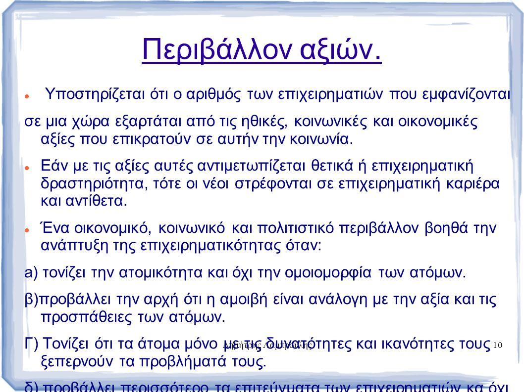 Δημήτρης Λαμπρούλης10 Περιβάλλον αξιών.