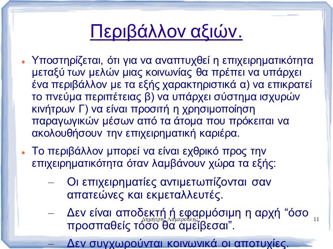 Δημήτρης Λαμπρούλης11 Περιβάλλον αξιών. Υποστηρίζεται, ότι για να αναπτυχθεί η επιχειρηματικότητα μεταξύ των μελών μιας κοινωνίας θα πρέπει να υπάρχει