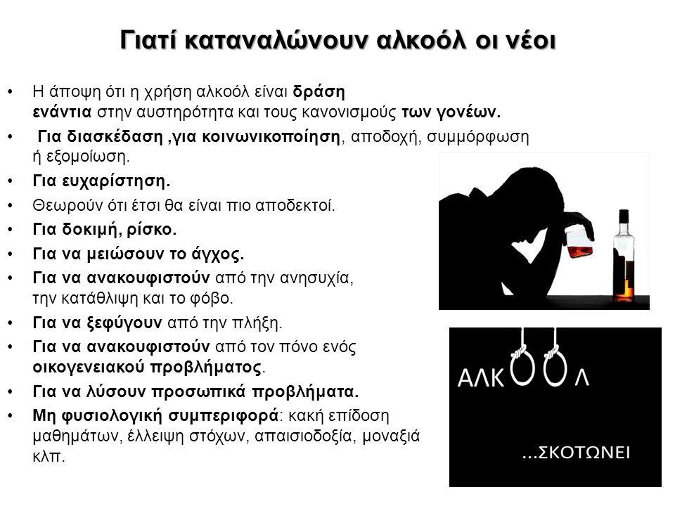Γιατί καταναλώνουν αλκοόλ οι νέοι Η άποψη ότι η χρήση αλκοόλ είναι δράση ενάντια στην αυστηρότητα και τους κανονισμούς των γονέων. Για διασκέδαση,για